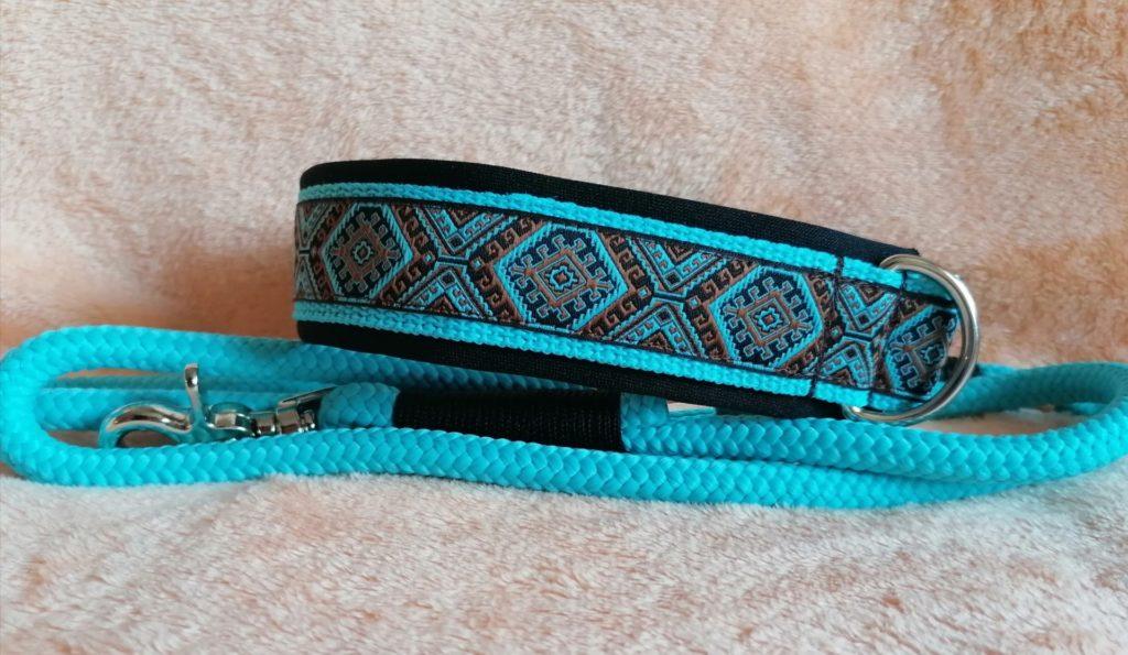 Set bestehend aus Tauleine und Halsband in Türkis. Hundehalsband individuell gestalten.