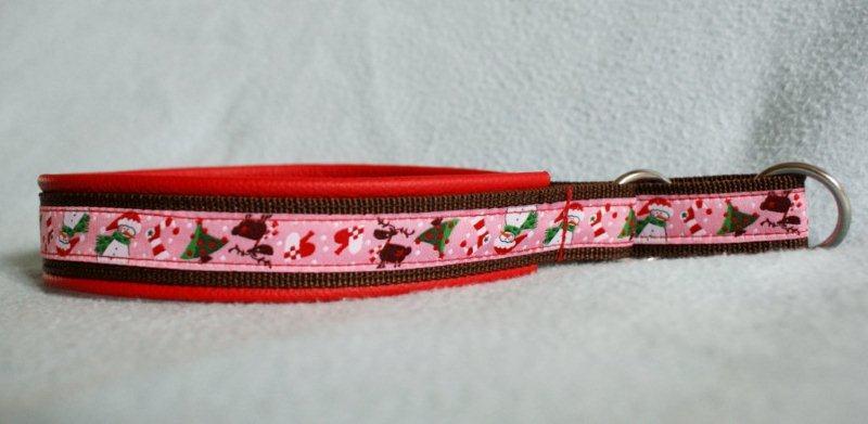 Zugstopp Halsband Webband Weihnachten Rosa mit rotem Leder unterlegt